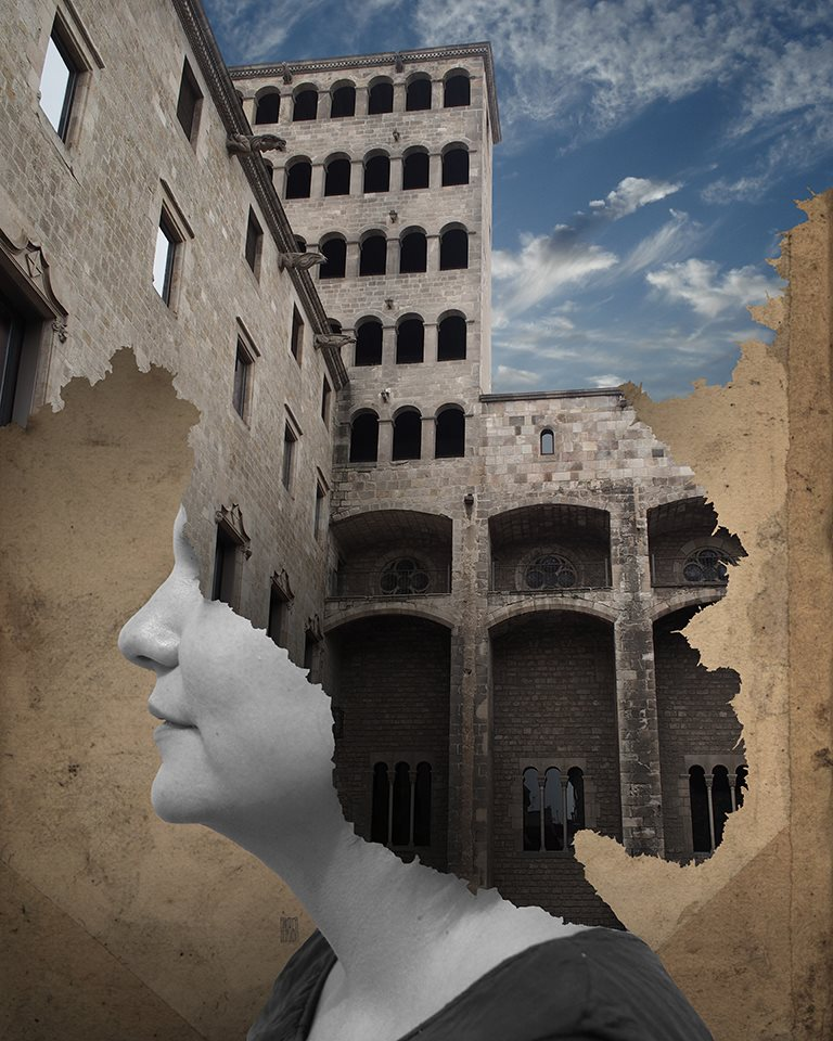 A piece of fine art art photography titled Where Is My Mind 035   Colored Plaça Del Rei, Barcelona, Spain by Aidan Sartin Conte