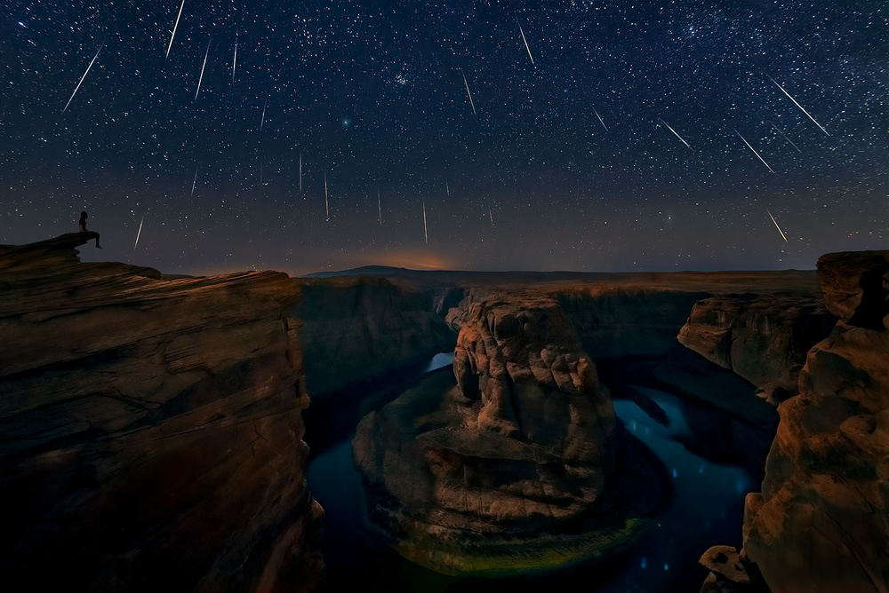 A piece of fine art art photography titled Watching the Comet and the Meteor Shower by Hua Zhu