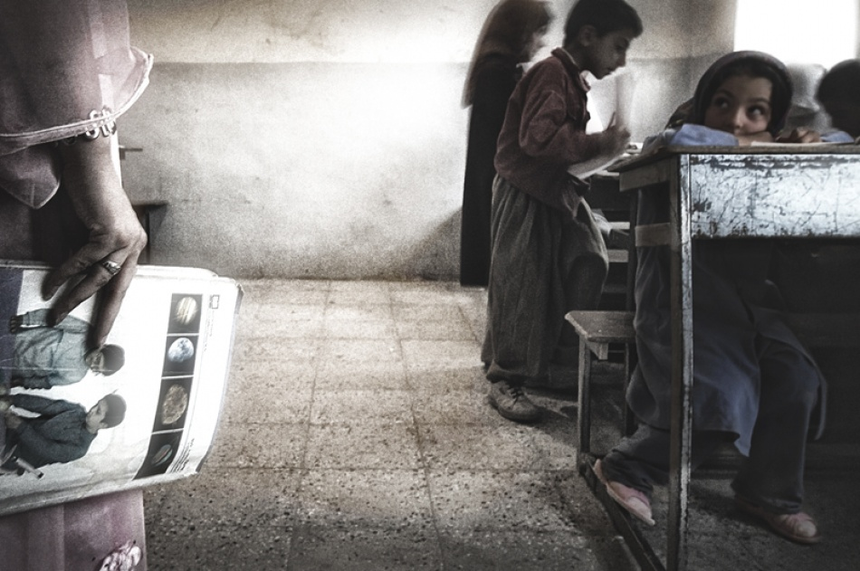A piece of fine art art photography titled Classroom In Palangan Village by Reza Milani