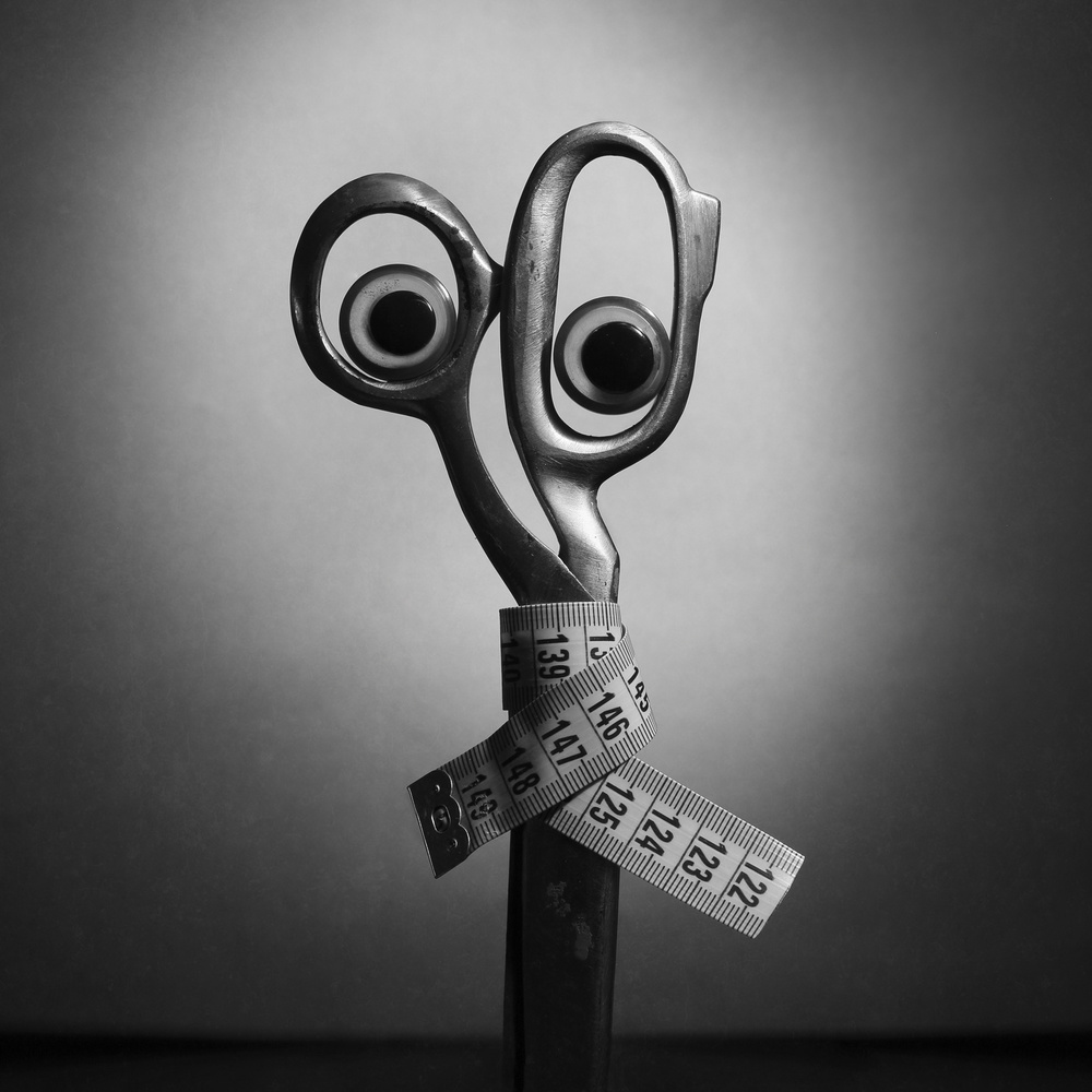 View this piece of fine art photography titled What are you looking at?!  Or crazy Mr. Scissors by Daša Ščuka