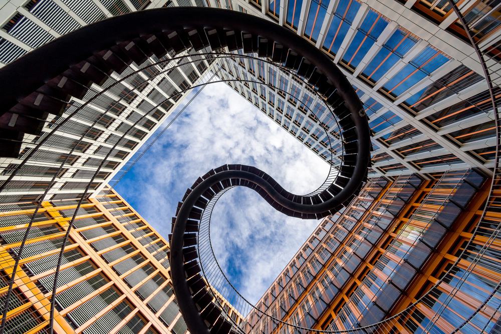 A piece of fine art art photography titled Curves Meet Straight Lines by Harry Lieber