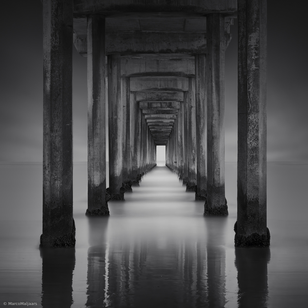 View this piece of fine art photography titled Scripps Pier by Marco Maljaars