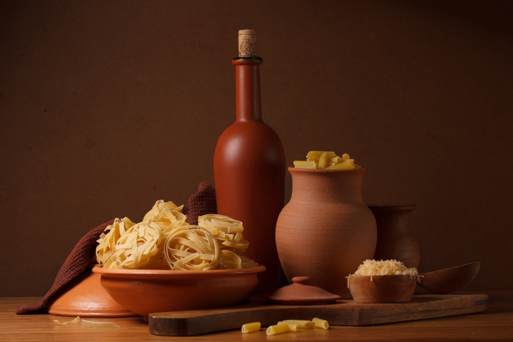 Still life with pasta and ceramic ware