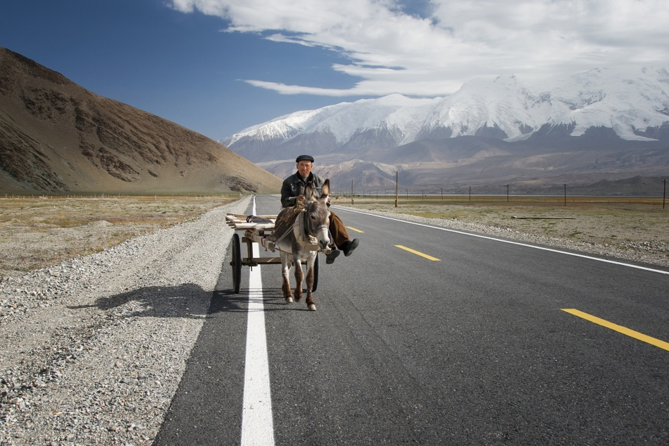 A piece of fine art art photography titled By Donkey On the Karakorum Highway by Reggy