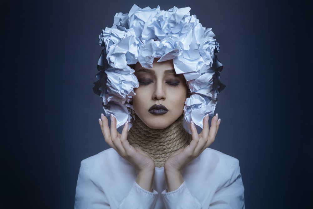 A piece of fine art art photography titled Miss Paper by Arian Ahmadipour