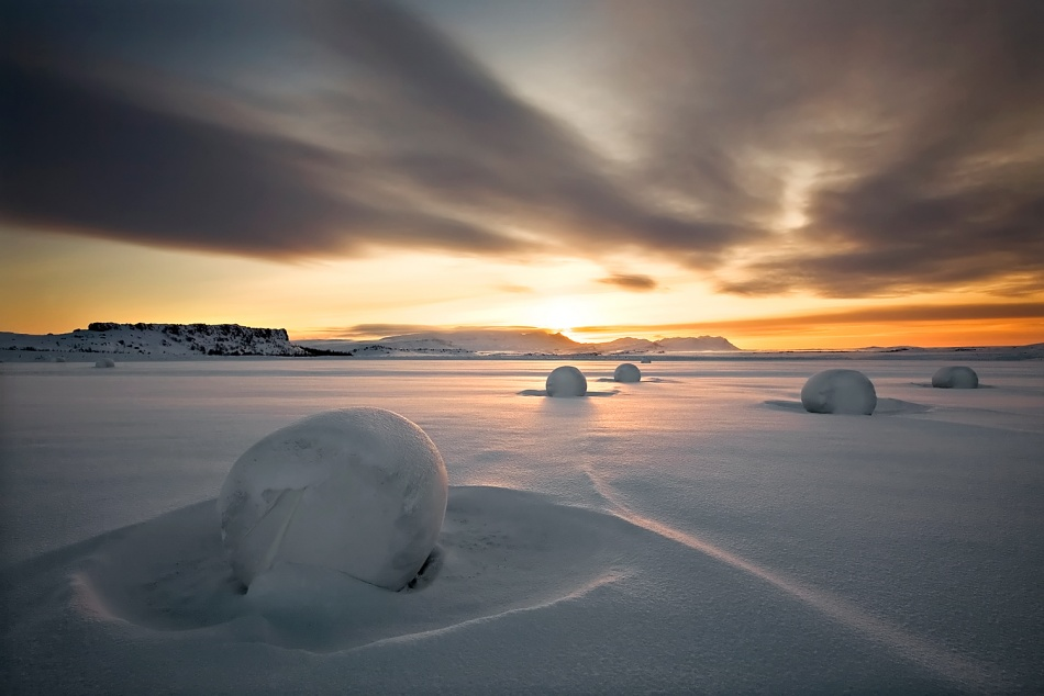 A piece of fine art art photography titled Snow Bales by Bragi Ingibergsson - BRIN