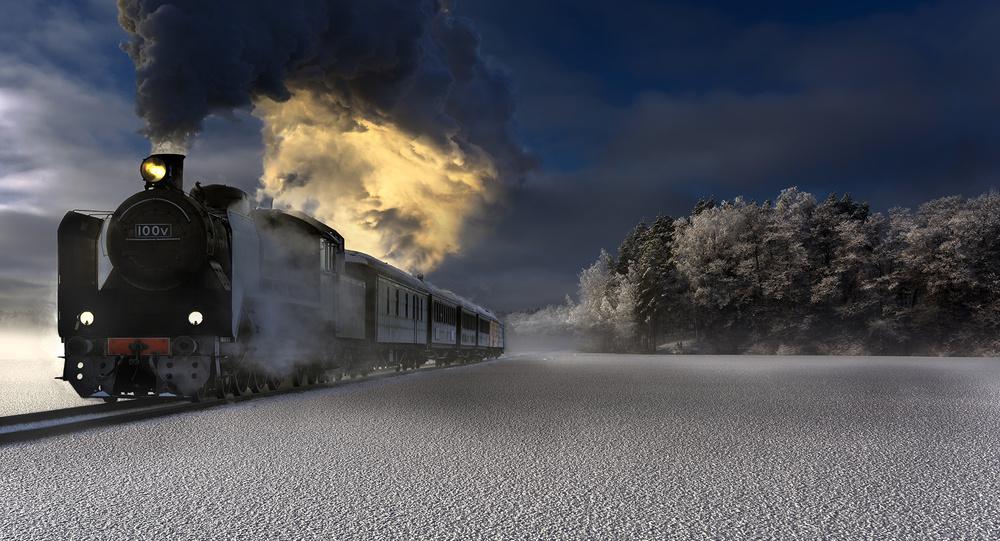 A piece of fine art art photography titled Old Steamer In Frozen Landscape by marko airismeri