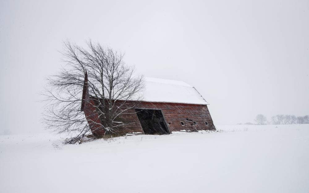 A piece of fine art art photography titled Old Barn In Winter by David Frey