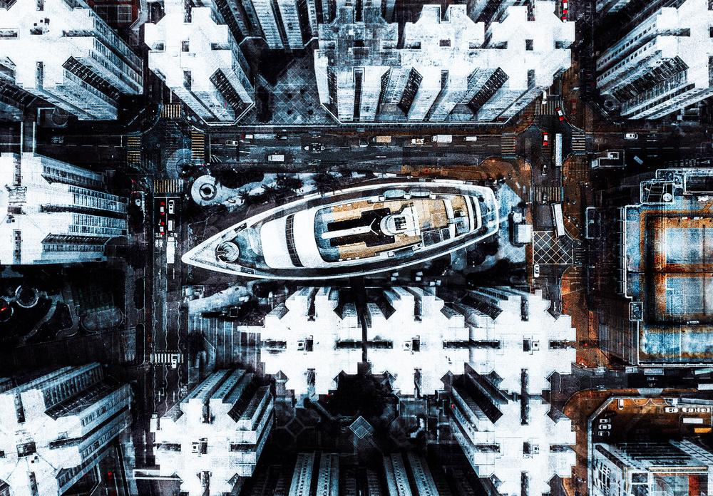 A piece of fine art art photography titled Among HK Buildings by Carmine Chiriacò
