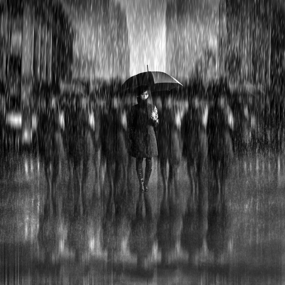 A piece of fine art art photography titled Girls In the Rain by Antonyus Bunjamin (Abe)