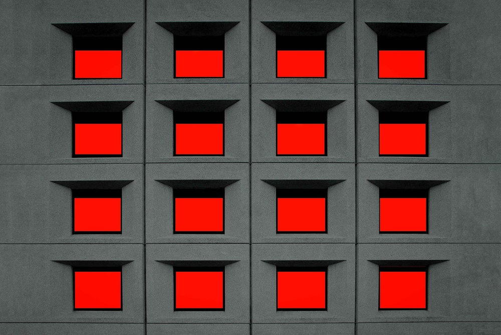 A piece of fine art art photography titled Red Squares by Inge Schuster