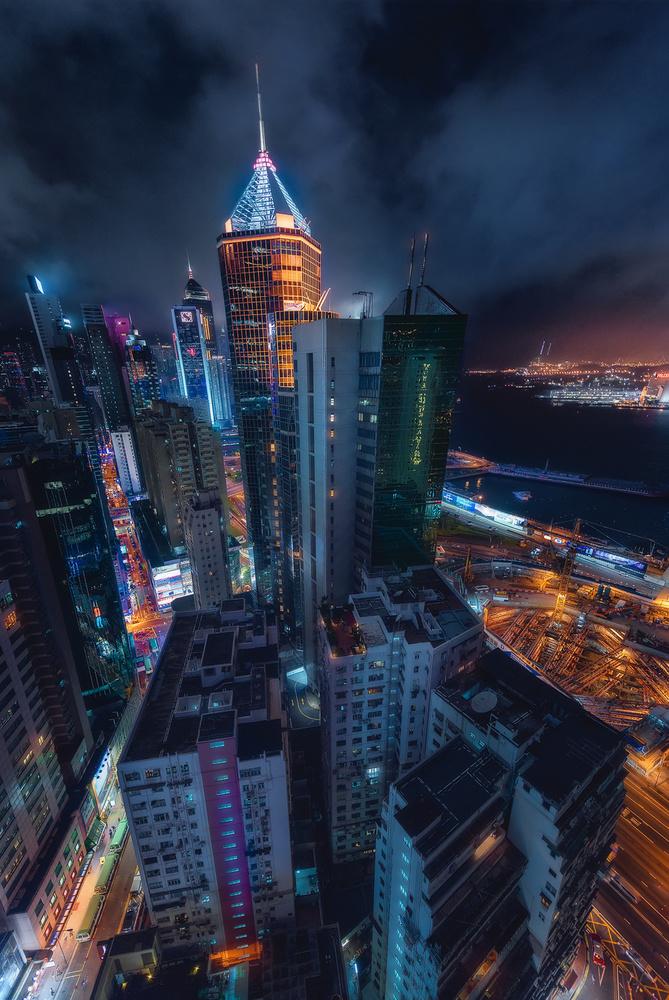 A piece of fine art art photography titled Flying Hong Kong by Javier de la Torre