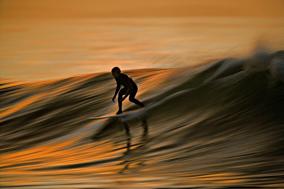 A piece of fine art art photography titled Dawn Surfer by David Orias
