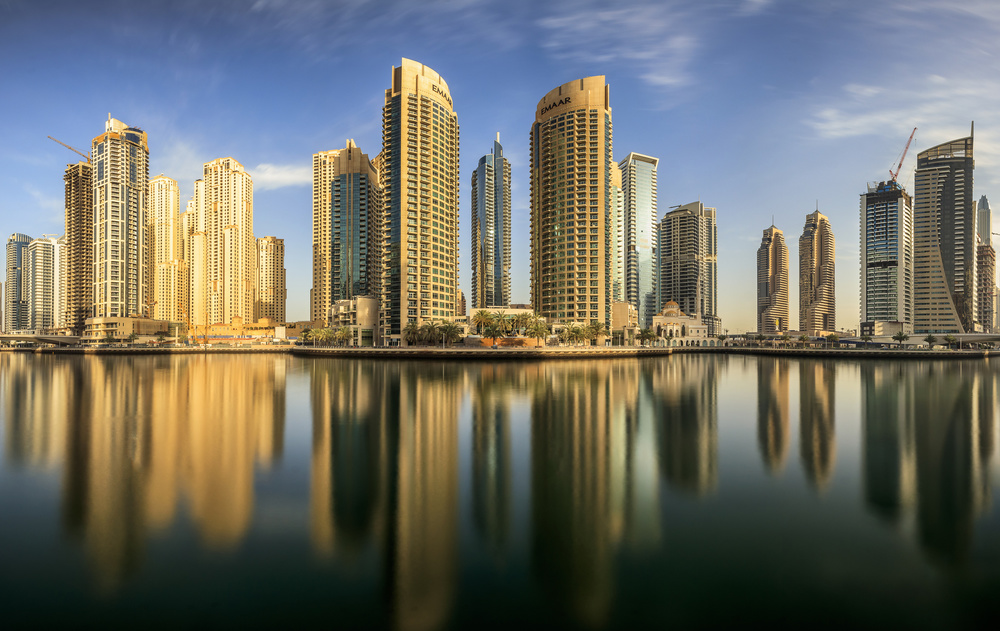 A piece of fine art art photography titled Panoramic Dubai Marina by Mohammed Shamaa