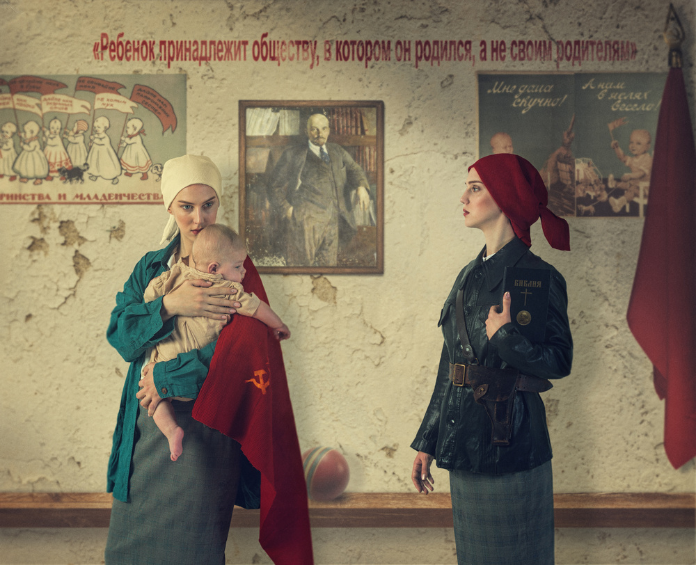 A piece of fine art art photography titled Red Madonna by Svetlana Melik-Nubarova