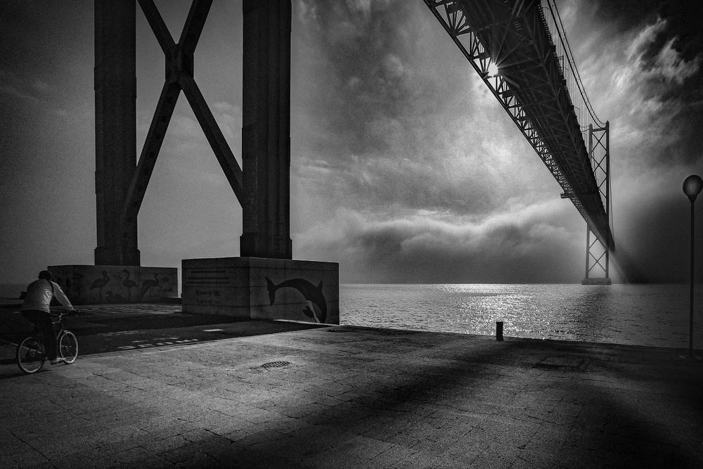 A piece of fine art art photography titled   Bridge Over Tejo by Fernando Jorge Gonçalves