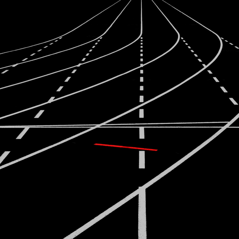 A piece of fine art art photography titled Straight Ahead by Hans Martin Doelz