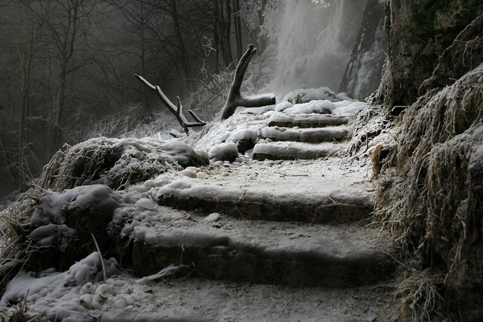 A piece of fine art art photography titled Der Weg Zum Wasserfall by Nicolas Schumacher