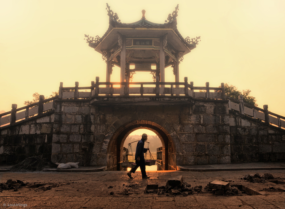 A foggy sunrise in Yangshuo