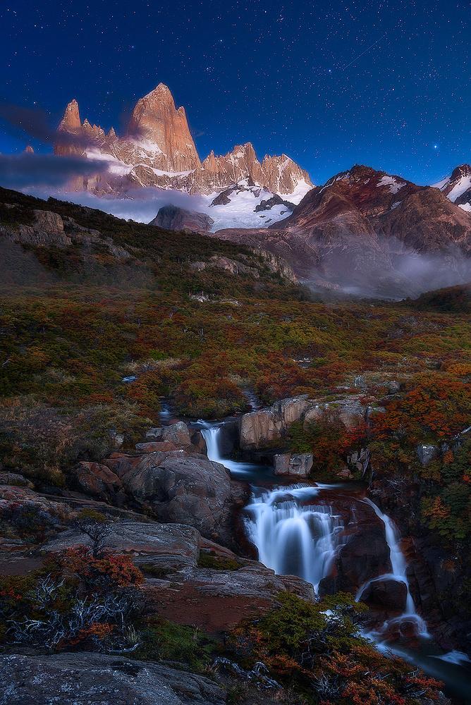 A piece of fine art art photography titled Moonlight In Patagonia by Felipe Gómez