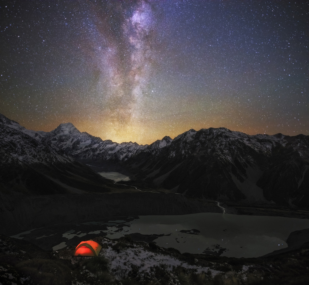 A piece of fine art art photography titled Mt Cook - the Sky IS My Companion by Yan Zhang