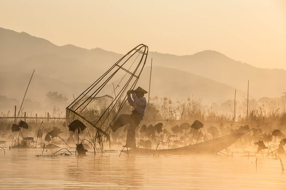 A piece of fine art art photography titled Good Morning, Let's Fishing! by Gunarto Song