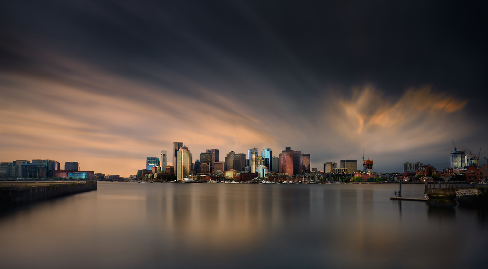 A piece of fine art art photography titled Boston Skyline by Miki Joven