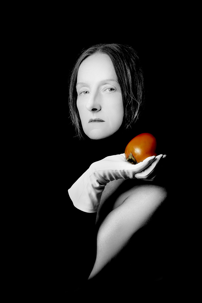 A piece of fine art art photography titled Woman With Fruit by Małgorzata Kossakowska