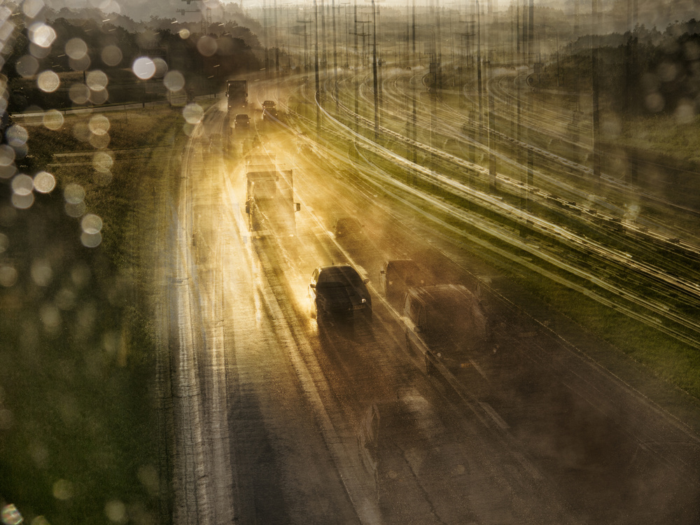 A piece of fine art art photography titled Road Trip - After the Rain by Thomas Vanoost