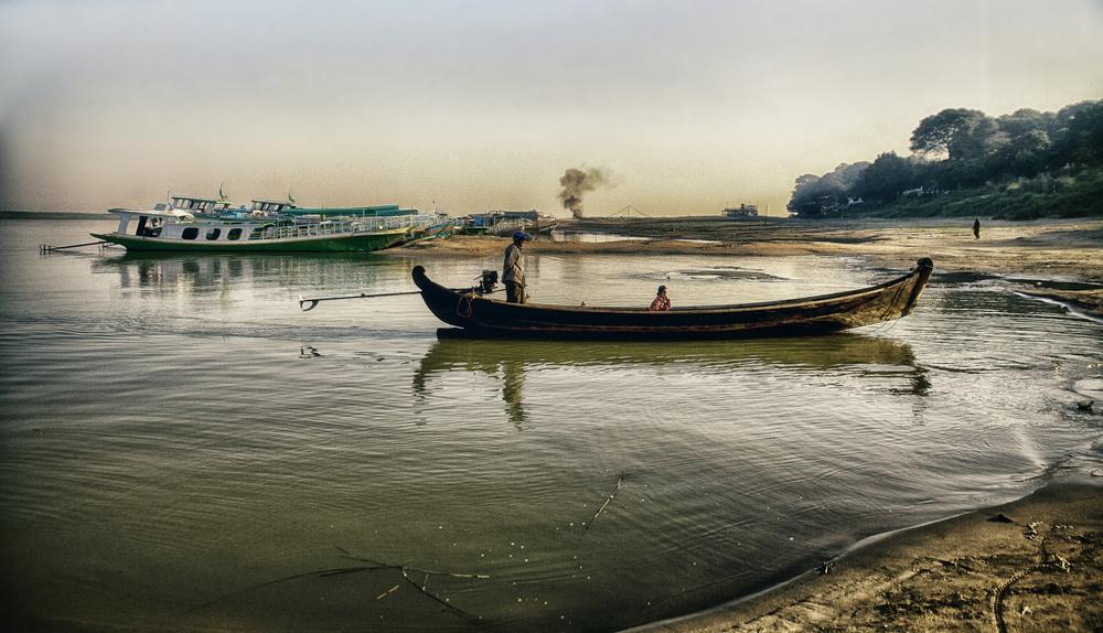 A piece of fine art art photography titled The River Myanmar by Alain Mazalrey