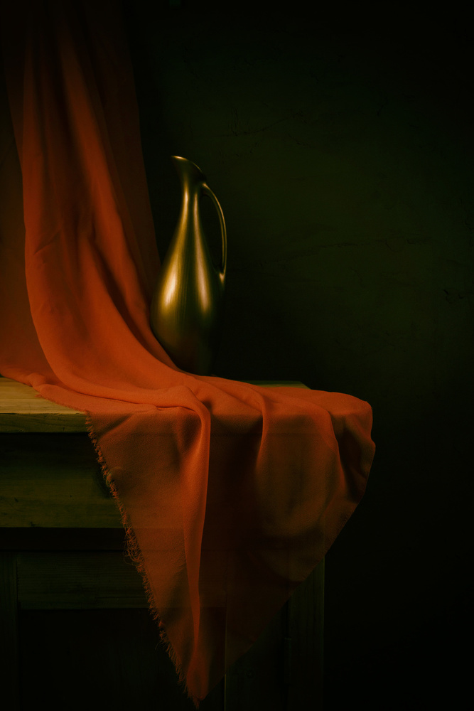 A piece of fine art art photography titled Still Life With a Red Cloth by magnola