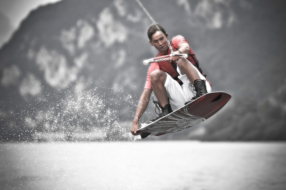 A piece of fine art art photography titled Wakeboarding Lago Como by bent andreassen