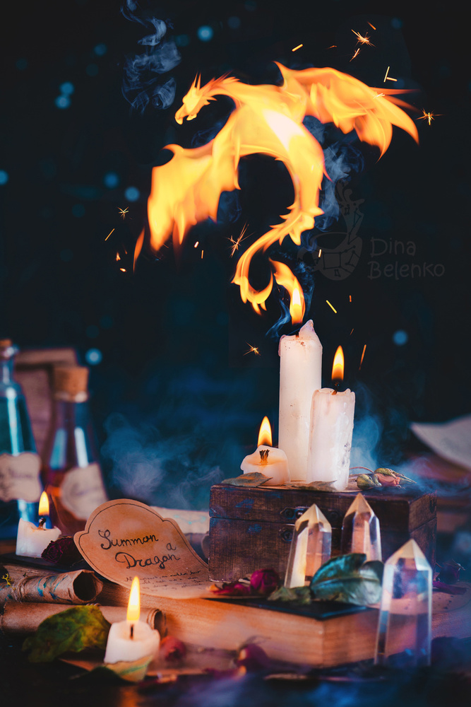 A piece of fine art art photography titled Candle Dragon by Dina Belenko