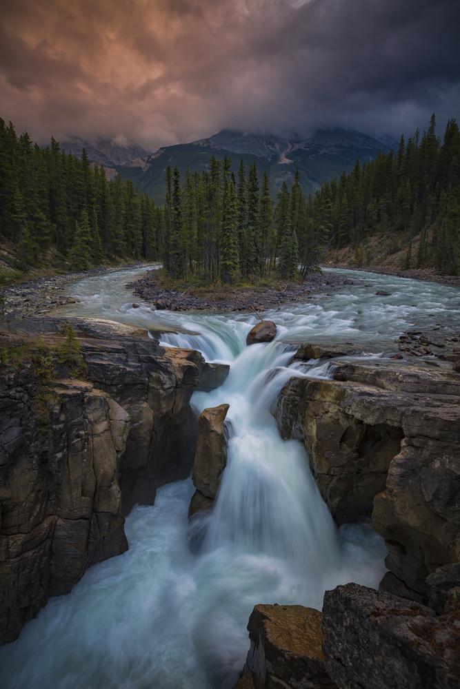 A piece of fine art art photography titled Sunwapta Falls by Michael Zheng