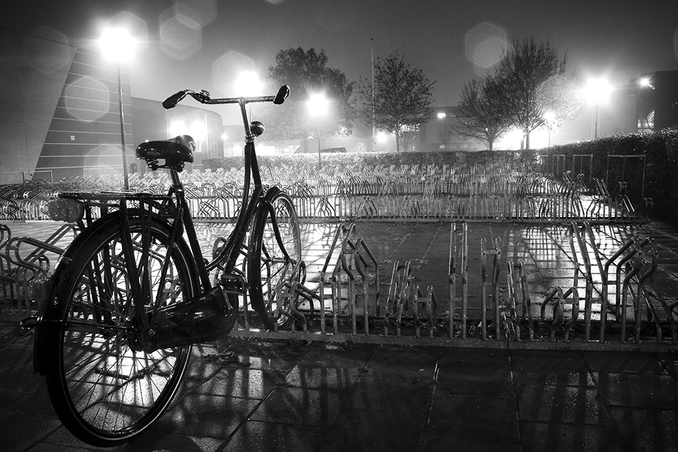 A piece of fine art art photography titled Bike at Night by Peter Sparks