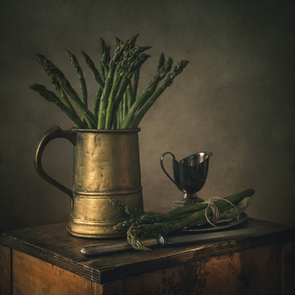 View this piece of fine art photography titled still life with asparagus by Elena Arjona