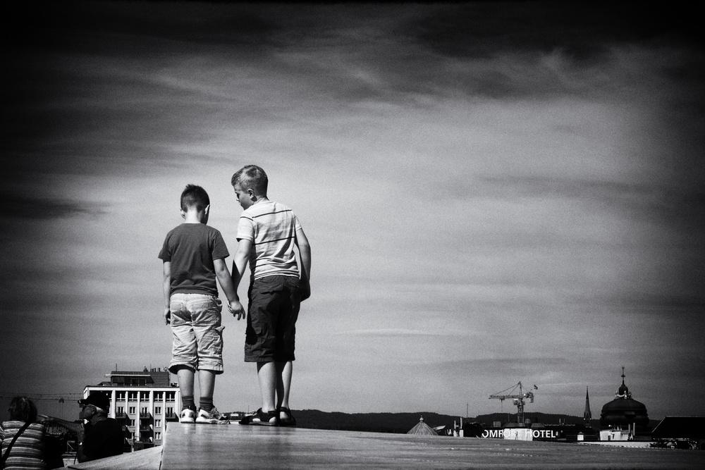 A piece of fine art art photography titled Wanna Jump? by Knut Arne Gjertsen