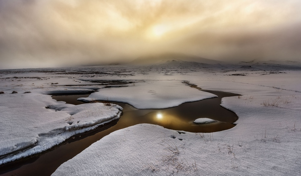 A piece of fine art art photography titled Golden Iceland by Javier de la Torre