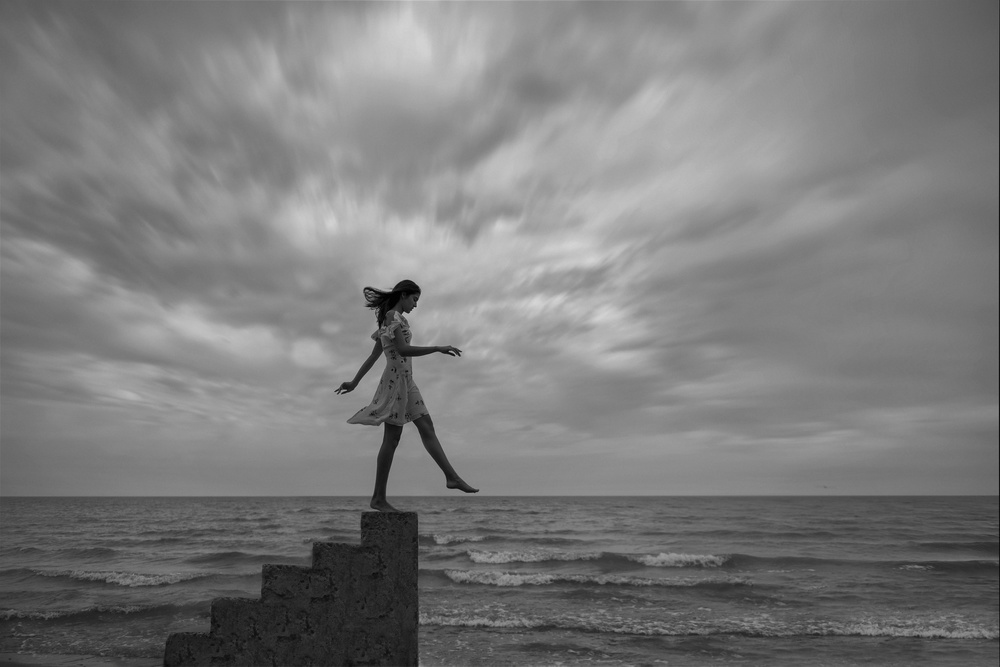 A piece of fine art art photography titled Step Forward by Anna