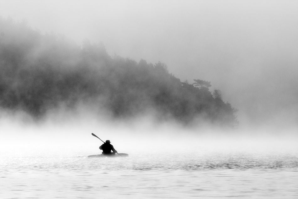 A piece of fine art art photography titled Alone In the Mist by Daniel Hasselberg