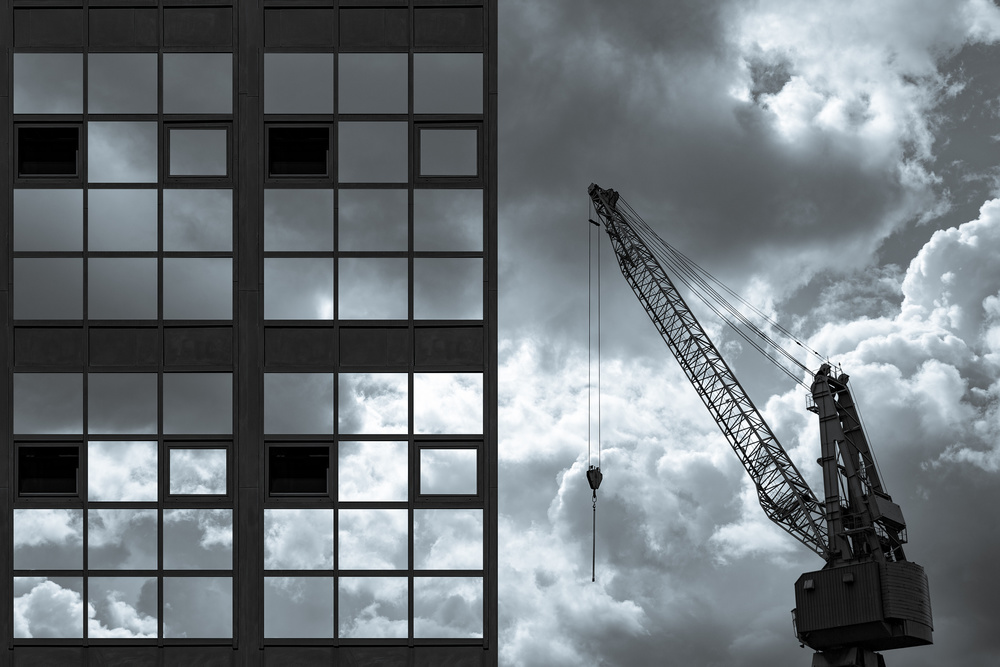 A piece of fine art art photography titled Composition With Windows and Crane by Inge Schuster