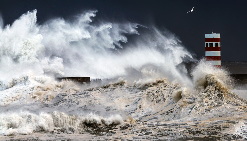 A piece of fine art art photography titled Stormy Sea by Nuno Milheiro