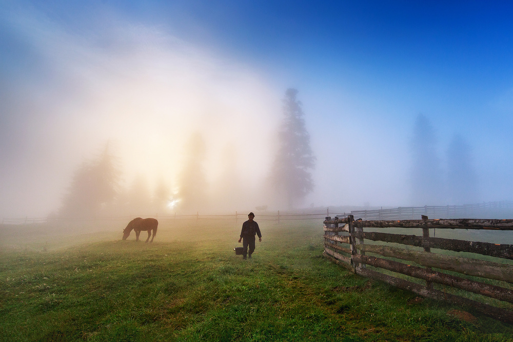 A piece of fine art art photography titled Sunrise In Bucovina ! by Sorin Onisor