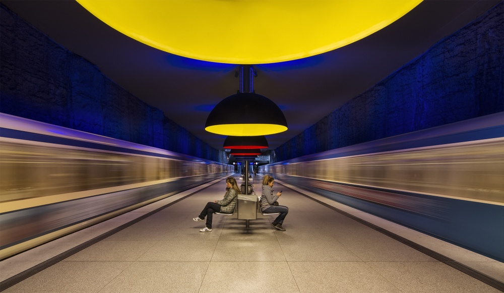 A piece of fine art art photography titled Munich Subway In Yelow by dariosastre