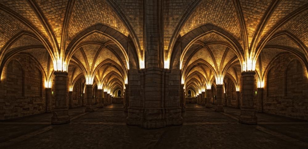 A piece of fine art art photography titled Columns -La Conciergerie- by Jose C. Lobato
