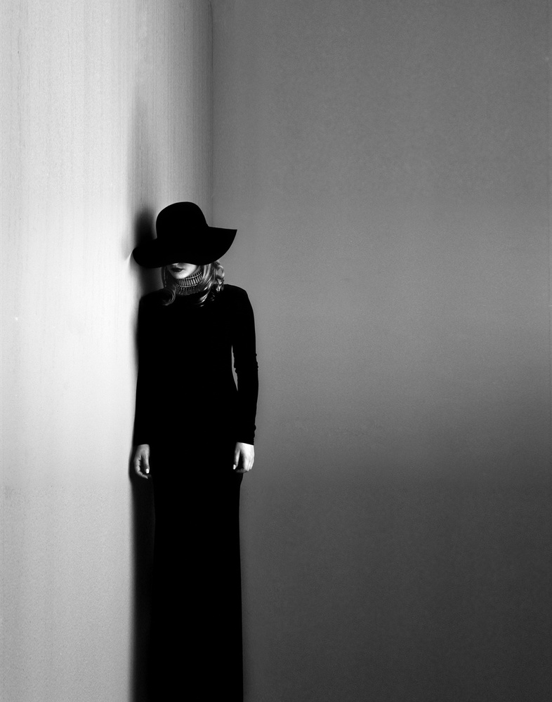 A piece of fine art art photography titled Black Dress, White Soul by Kalynsky