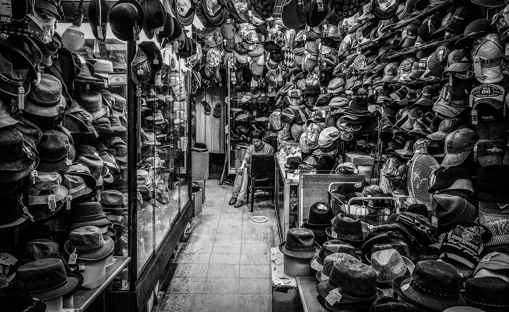 A piece of fine art art photography titled Hat Shop by masahiro miyagi