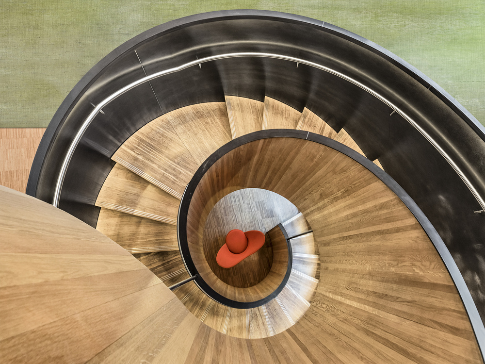 A piece of fine art art photography titled Spiral Staircase by Herbert A. Franke