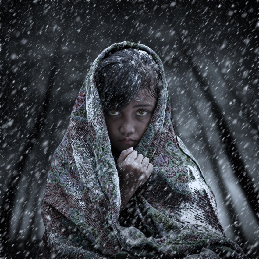 A piece of fine art art photography titled Girl In Blizzard by Alamsyah Rauf