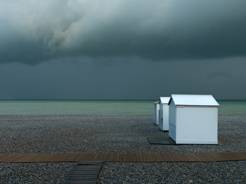 A piece of fine art art photography titled Beachhouses by Elisabeth Wehrmann